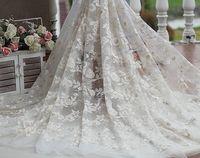 Frete grátis marfim + champanhe + ouro do Vintage bordado tela do laço com floral, Vestido de casamento Lace tecido