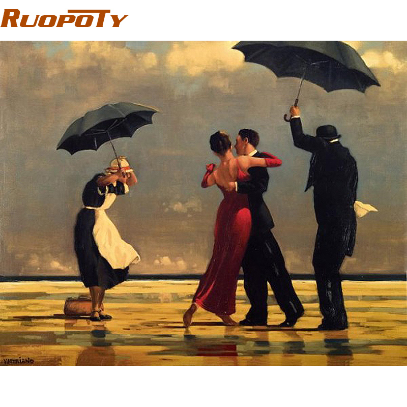 RUOPOTY Frame Tango Diy Painting By Numbers Europe Hand Painted Oil Painting On Canvas Wall Art Picture For Room Decoration