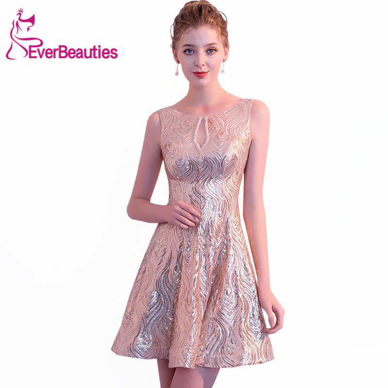 Robe De   Cocktail   Short   Cocktail     Dresses   2019 Sequins Sleeveless Women's Prom Party   Dresses   Homecoming   Dresses