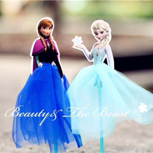 72 High Princess Snow Queen Anna Elsa Cupcake Toppers Tutu Party Supplies Birthday