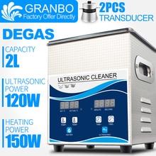Granbo цифровой 2L 120 Вт Ультразвуковой очиститель с дегазом нагревательная ванна для стоматологических часы-очки монеты инструмент Часть удалить углерод