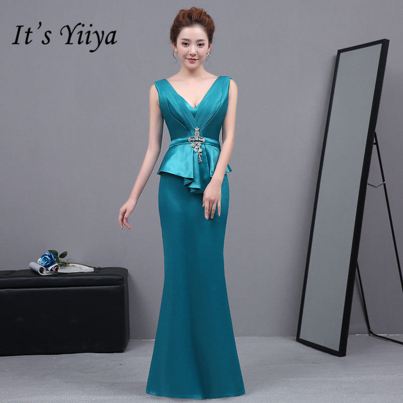 It's YiiYa New Sexy Sleeveless Mermaid Dresses Vestidos Charming V-neck Trumpet Evening Gowns H020