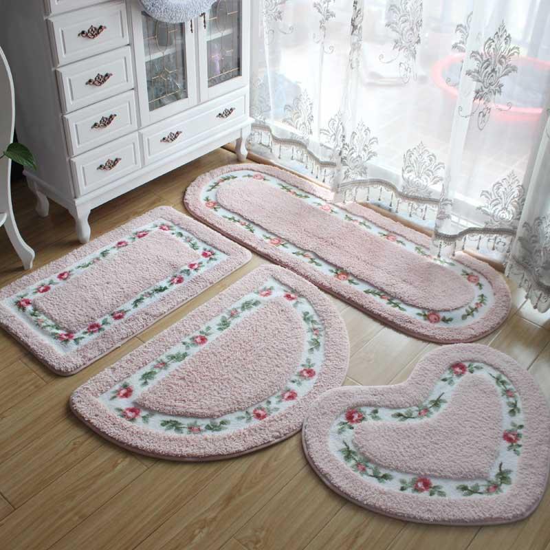 로맨틱 플라워 욕실 안티-슬립 카펫 슈퍼 소프트 패드 거실 침실 바닥 매트 하트 모양 사각형 깔개 화장실 매트 패드