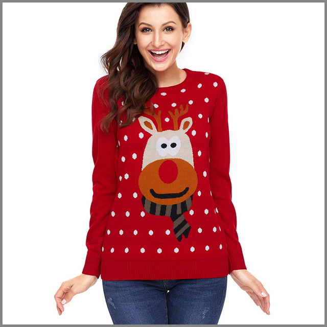 red ugly christmas sweater women with deer knitted jumper christmas pullover sweater reno navidad jersey ladies - Red Ugly Christmas Sweater