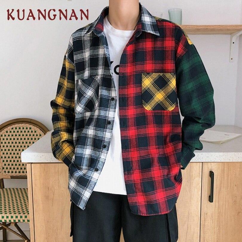 KUANGNAN Patchwork Red Plaid Shirt Men Streetwear Men Shirt Long Sleeve Cotton Mens Shirts Casual Slim Fit XXXL 2019 Spring New