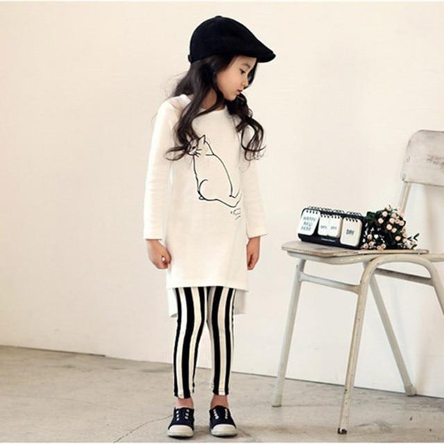 Super 2018 Herfst Baby Meisje Kleding Sets Wit Katoen Print Kat Shirt @ON77