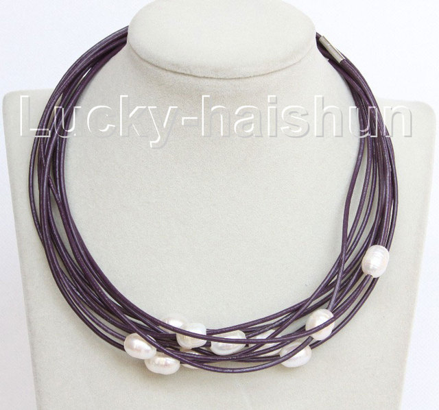 wholesale 10 piece 11mm white freshwater pearls purple leather necklace j10698
