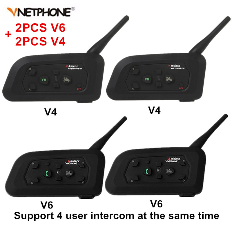 2Pc V4+2Set V6 Bluetooth Motorcycle Helmet Intercom Headset BT Stereo Interphone Hands Free Walkie Talkie Earphone For 4 Riders