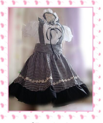Conception originale mignon filles japonais café robe de chambre noir et blanc carreaux Lolita Cosplay Costume
