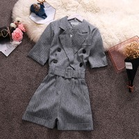 2019 Sale Rushed Body Feminino Body Women's Jumpsuit For Commuter Suit Collar Short Sleeve Summer Striped Double breasted Women