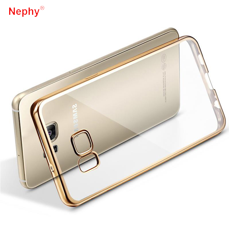 Nephy Gold Soft TPU Phone Case For Samsung Galaxy A3 A5 A7 J1 J3 J5 J7 2015 2016 2017 Grand Prime Plating Frame Back Cover Coque