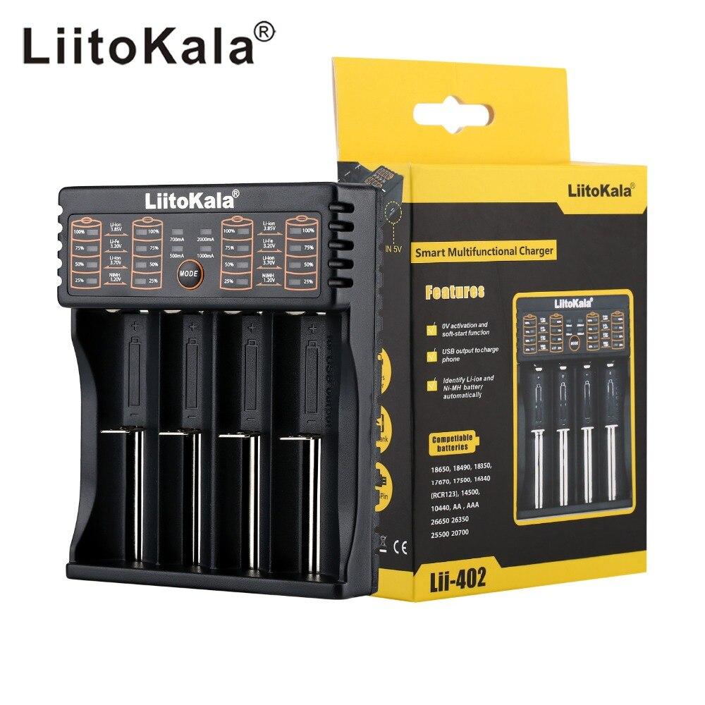 NUEVA LiitoKala lii-100 lii-202 lii-402 1.2 V 3.7 V 3.2 V 3.85 V A/AAA 18650 18350 26650 10440 14500 16340 cargador inteligente de baterías de NiMH