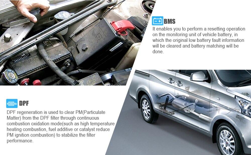Launch CReader CR8021 OBD2 Scanner DPF Regeneration for Diesel Car Oil  Service Reset ABS SRS EPB TPMS BMS Battery Match ODB 8021