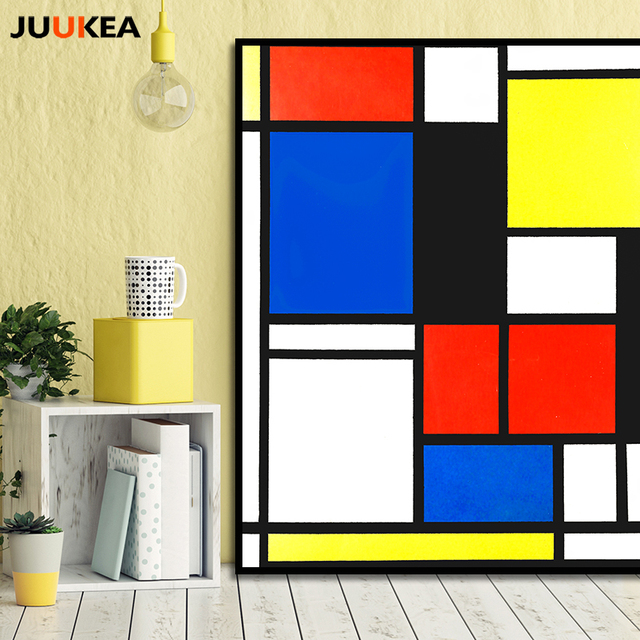piet mondrian cornelies classique art g om trie ligne rouge bleu jaune composition toile. Black Bedroom Furniture Sets. Home Design Ideas
