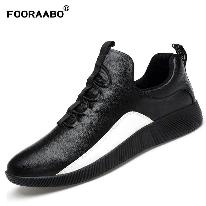 2017 Luxury Brand New Style Mens Casual Shoes Flat Male High Quality Leather Shoes Men Lace-up Walking Shoes Zapatilla Hombre urma 25 л