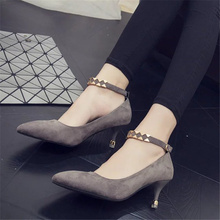 Free shipping autumn women's shallow mouth pointed toe high-heeled shoes thin heels matal decoration ankle strap wedding shoes