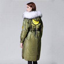 2016 Winter Jacket Women Down Jackets Smiley Fur Hooded medium-long down coat white duck down fashion thicken Women's Outerwear