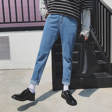 2017 Autumn Men's Japanese new Style Solid Color Jeans Fashion TREND Causal Men Pencil Ankle-Length Pants Blue Trousers 28-33