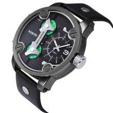 North brand quartz watch men unique Three Time Movements Wrist Watch Leather belt Sports Mens Watch good quality relogios #yl