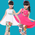 New 2016 Summer Cotton Casual Modal Fabric Pastoral Flower Girl Dress&Legging Girls Clothing Sets Baby & Kids Pants Clothes Sets