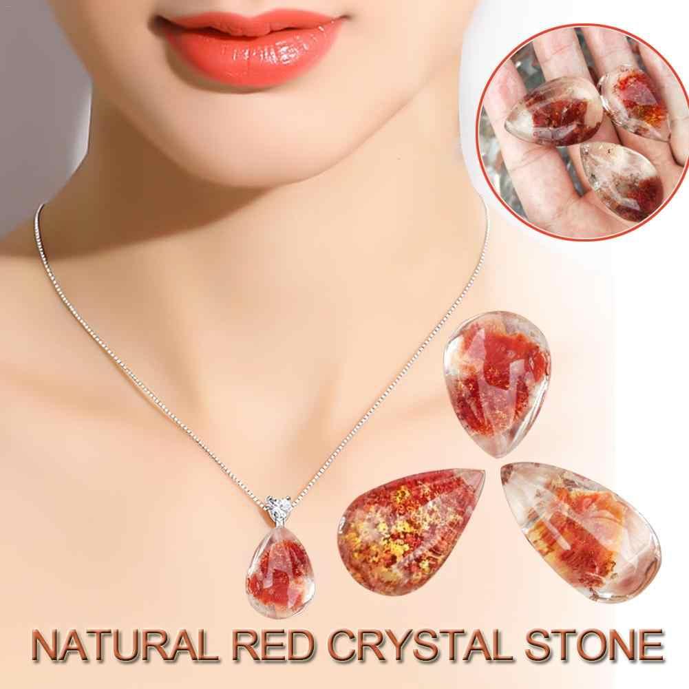 治癒石水晶のための美少女女性ペンダント流れるライトナチュラルポリッシュ赤ゴーストクリスタル