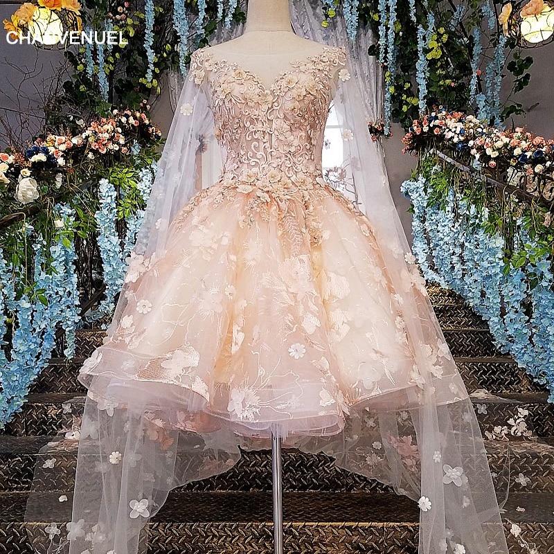 LS00145   evening     dress   short 2019 lace zipper back robe courte de soiree pink   dress   long party with long cape cocktail style