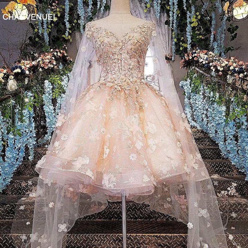 LS00145 robe de soirée courte 2019 dentelle fermeture éclair dos robe courte de soirée rose robe longue fête avec longue cape style cocktail