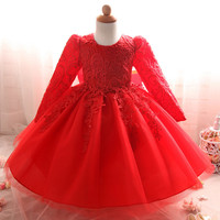 מוצק שרוול ארוך פרחוני Bow שמלת תינוק טבילה 1 שנה יום הולדת שמלת פעוט תינוק טבילה טבילת תחרה חלול Vestido