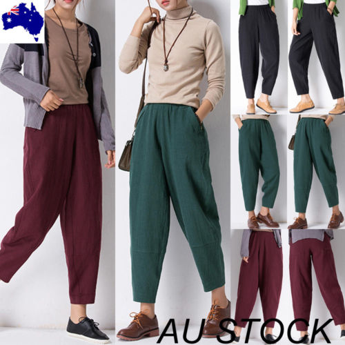 AU Stock Women Cotton High Waist   Wide     Leg     Pants   Palazzo Plus Size Plain Trousers