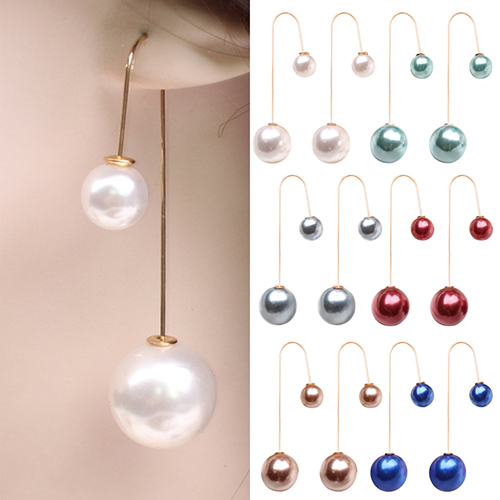 2017 Women U Shaped Double Sided Faux Pearl Ball Drop Dangle Earrings Party Jewelry 6y1m 7ecl 8a8k In From Accessories On