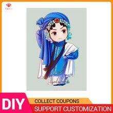 YIKELA 5D DIY Full Round/Square Diamond Painting Cross Stitch Beijing Opera Embroidery Cartoon Character