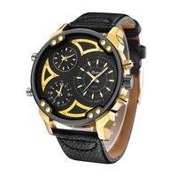 Oulm Super Grand Quartz Montres Hommes Marque De Luxe Grand Cadran Deux Fuseau horaire Homme Horloge Casual PU Cuir Hommes de Montre-Bracelet relogio