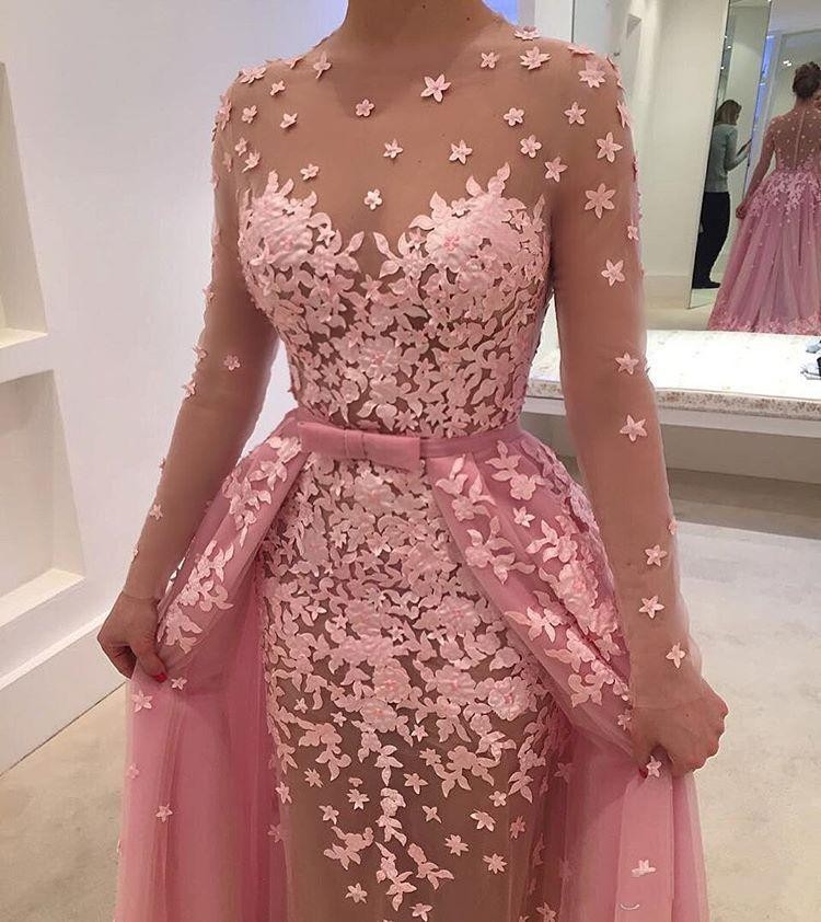 Pink Detachable Train Mermaid Evening Gowns Scoop Neck Long Sleeve With Appliques Flower Illusion Tulle Prom Gowns Party Dress