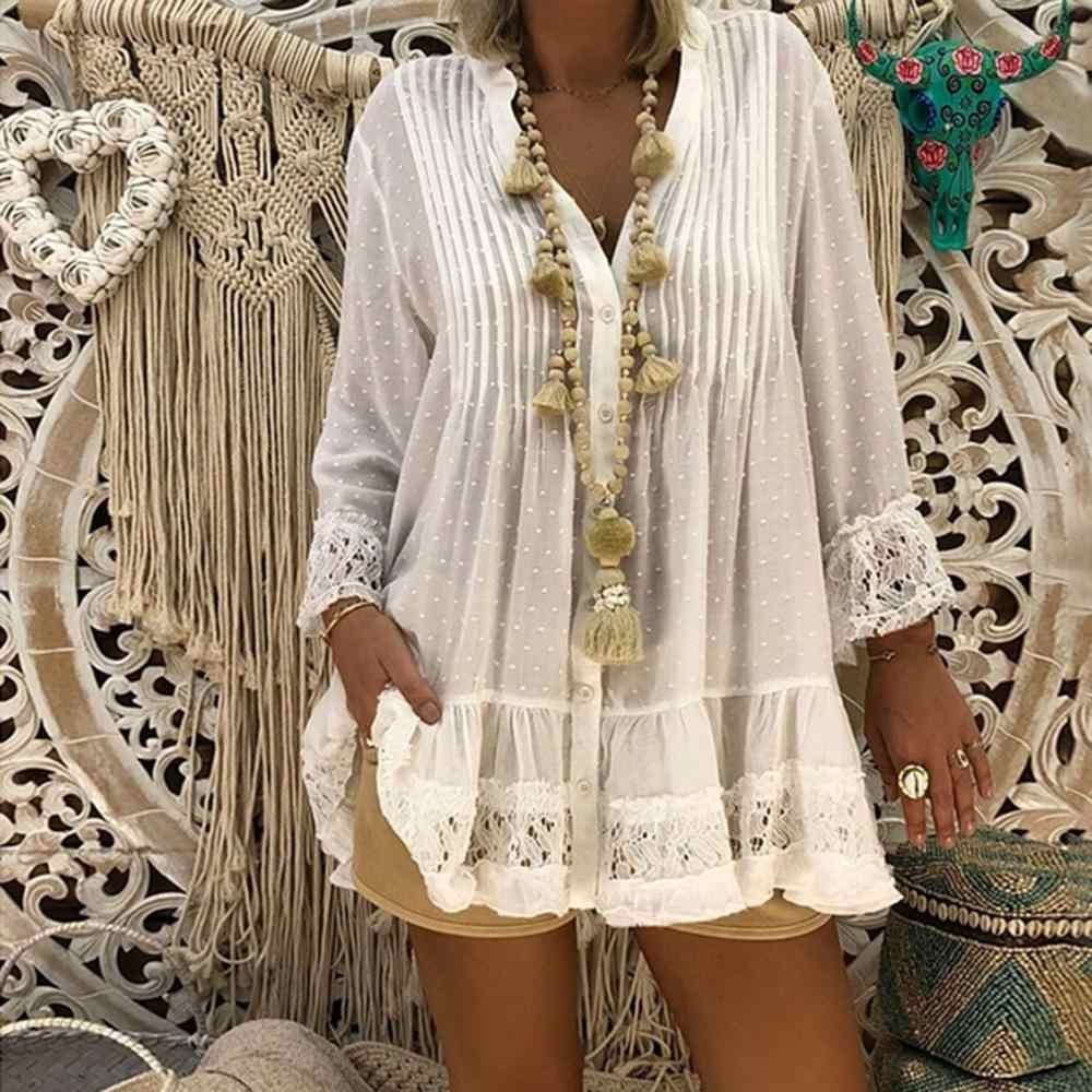 Womens Tops and Blouses Plus Size Top V Neck Women Clothing Caftan Boho Beach Cover Ladies Vintage Hippie Baggy Blouse blusas