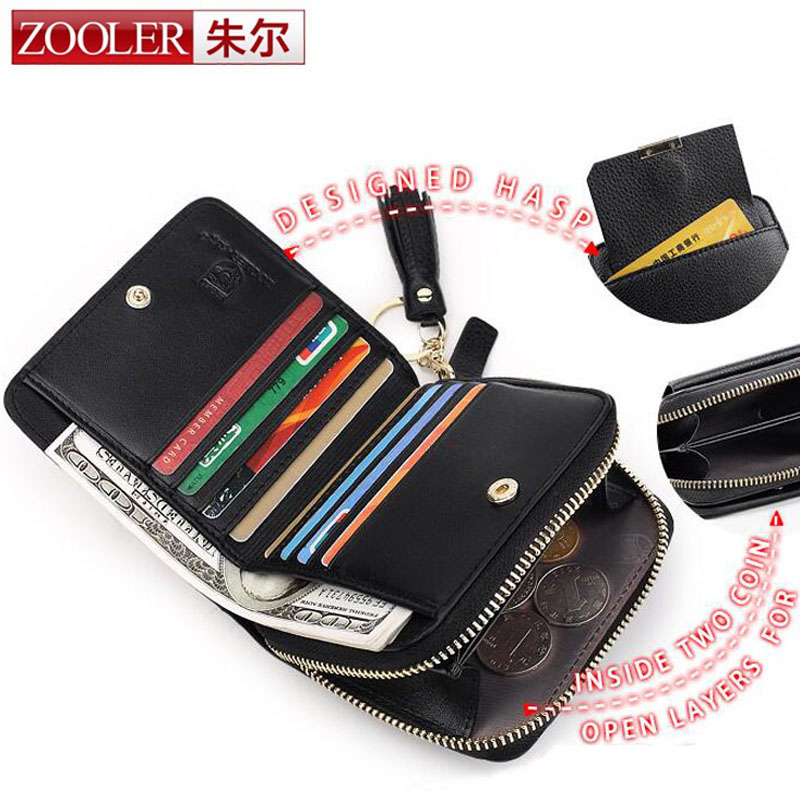 ZOOLER Hot Genuine Women Small Wallet Tassel Cowhide Leather Short Coin Purse Vintage Wallet Brand High Quality Design Card Bag