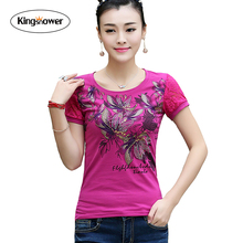 Brand Clothing 2016 Summer Women's T-shirt Floral Printing Shirts Slim Fit Female T Shirts Casual Tops Tee Plus Size 3XL JA2211