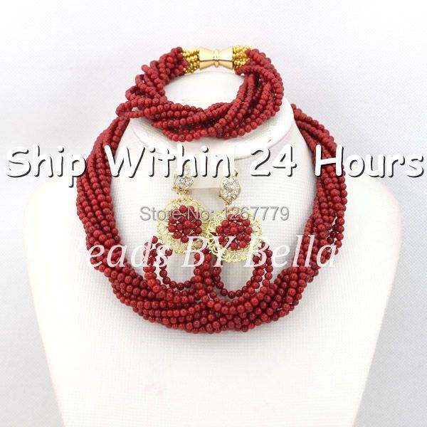 Latest Design Wedding African Beads Jewelry Set Red Coral Beads Necklace Bracelet Brides Jewelry Set Free Shipping ABC436