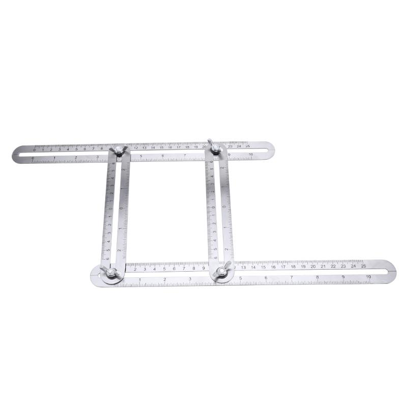 Multi Angle Ruler Stainless Steel Angle Protractor Foldable Template Tool Four-sided Tile Flooring Measuring Tool Woodworking