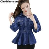 Tunic Jeans blouse Lantern sleeve 2018 Spring autumn vintage womens Peplum tops blouses Ladies ruffle denim shirt camisa jeans