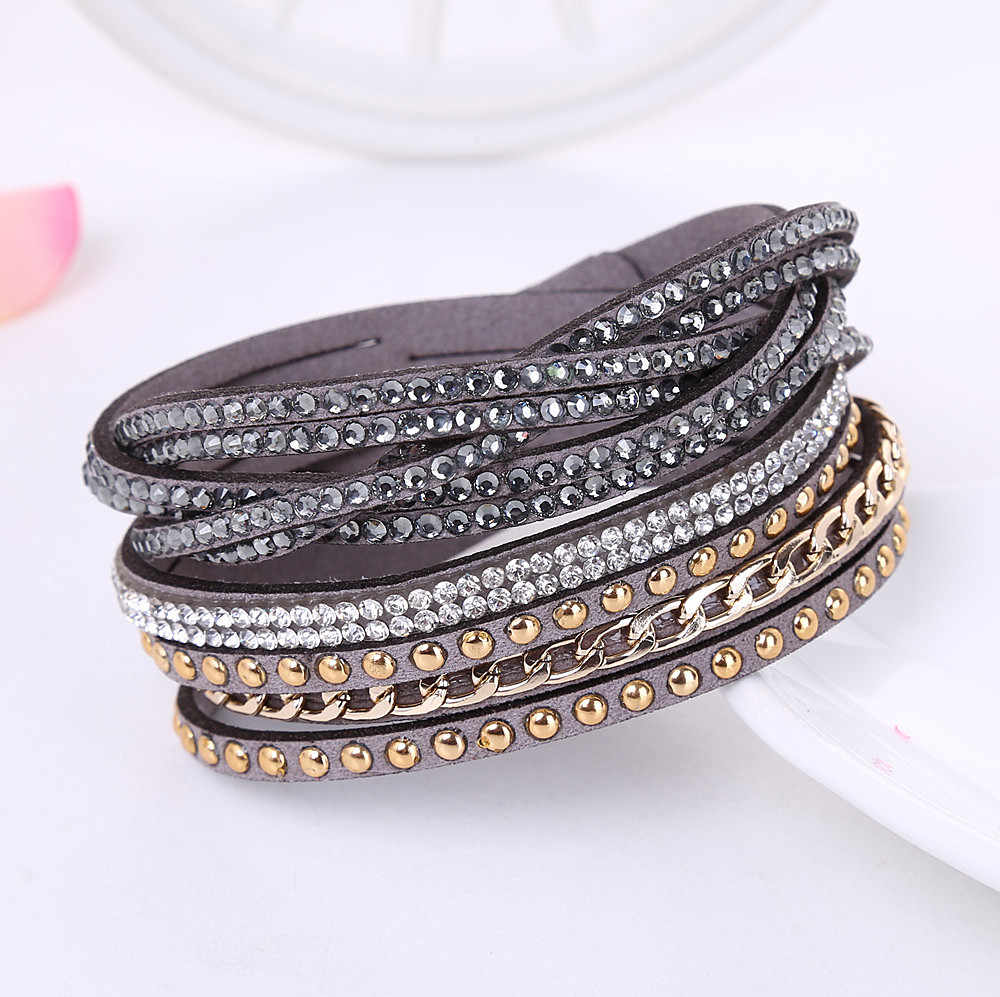 2017 Fashion Leather Bracelet Punk Style Multilayer Bracelets & Bangles Couro Rivet Jewelry For Women /Men pulseras