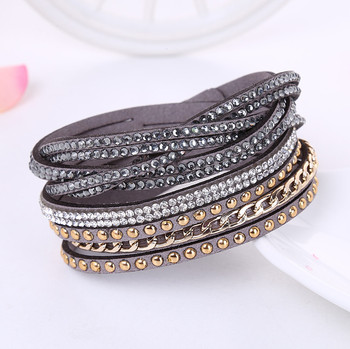 2017 Fashion Leather Bracelet Punk Style Multilayer Bracelets & Bangles Couro Rivet Jewelry For Women /Men pulseras image