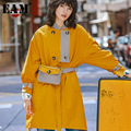 [EAM]2018Autumn Winter Woman Yellow Color Stand Collar Spliced Striped Pockets Sashes Long Wide-waist Waistbag <font><b>Trench</b></font> Coat LD573