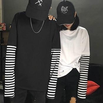 cd9298236d75 Camiseta Mujer 2019, модные футболки, корейские, Ulzzang Harajuku,  полосатые, с длинными рукавами, ...