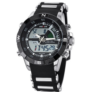 Image 4 - 2019 WEIDE Watches Mens Casual Watch Multifunction LED Watches Dual Time Zone With Alarm Sports Waterproof Quartz Wristwatches