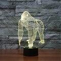 USB Relógio Acrílico A Cor Sete Orangotango Quarto Noturna lâmpada de Escritório Lâmpada de Mesa LEVOU Criança Oceano Do Mundo Presente de Natal 3D-TD159