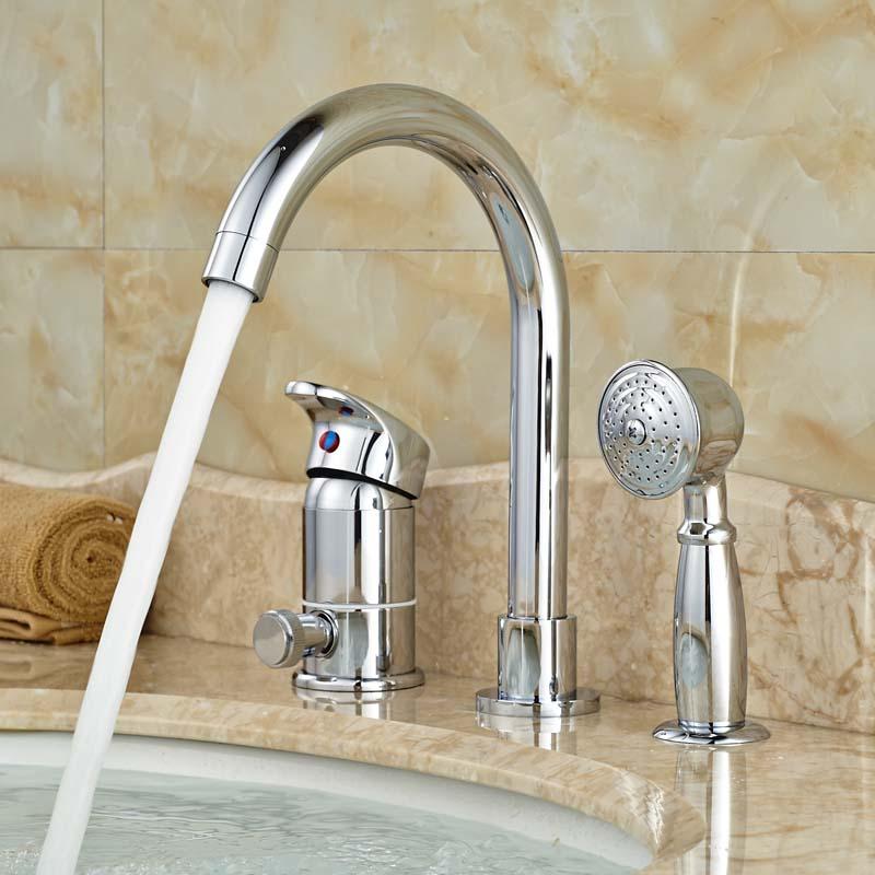 Single Handle Bathroom Brass Widespread Bathtub Faucet Deck Mount 3pcs Bath tub Mixer Taps Chrome Finish deck mount luxury 5pcs bathtub tub mixer taps bathroom widespread chrome brass bath tub faucet with handshower