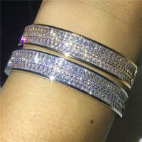 Vecalon Luxury Bangle Princess cut AAAAA Cz Silver Gold Color Party Bracelet bangle For women Bridal Wedding accessaries Gift