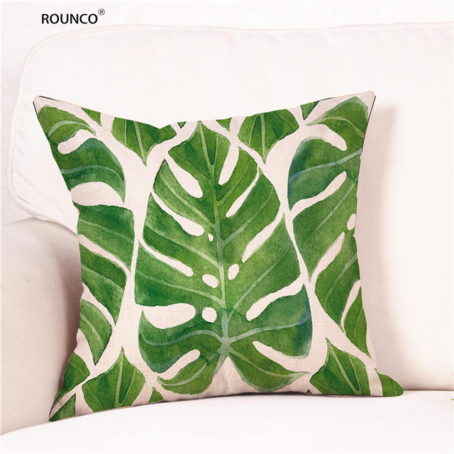 Creative Bamboo Leaves Pattern Cushion Cover Comfortable Cotton Linen Pillow  Cover Decorative Outdoor Chair Cushions 45