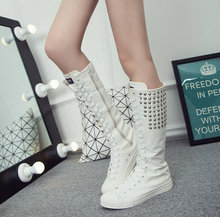 Spring and Autumn 2016 New Brand Women Fashion Casual Shoes Tall Canister Boots New High Help Leisure Large Base Canvas Shoe