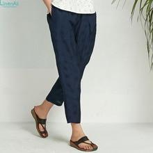 Linen silk clothing Original design women's spring summer linen polka dot jacquard elastic waist casual trousers LinenAll Sishan